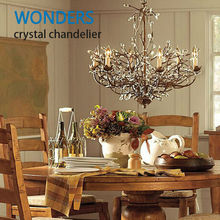 Flower tree vintage black/rust iron crystal creative e14 4/6/8/10 heads chandelier for foyer restaurant dining room(China (Mainland))