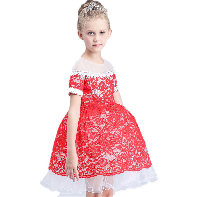 Girl Dress Summer Toddler Girls Clothes Lace Princess Dress Halloween Party Role-play Costume European style short-sleeved dress(China (Mainland))