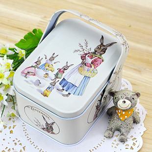 Vivid Peter Rabbit Tote Tin Box Jewelry Box Storage Organizer Case Iron Box Candy Container Gift Box(China (Mainland))