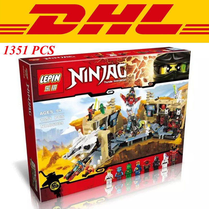 Фотография LEPIN 06039 1351Pcs Phantom Ninja Samurai X Cave Chaos Model Building Kit Minifigure Blocks Bricks Toy Compatible Legoe 70596