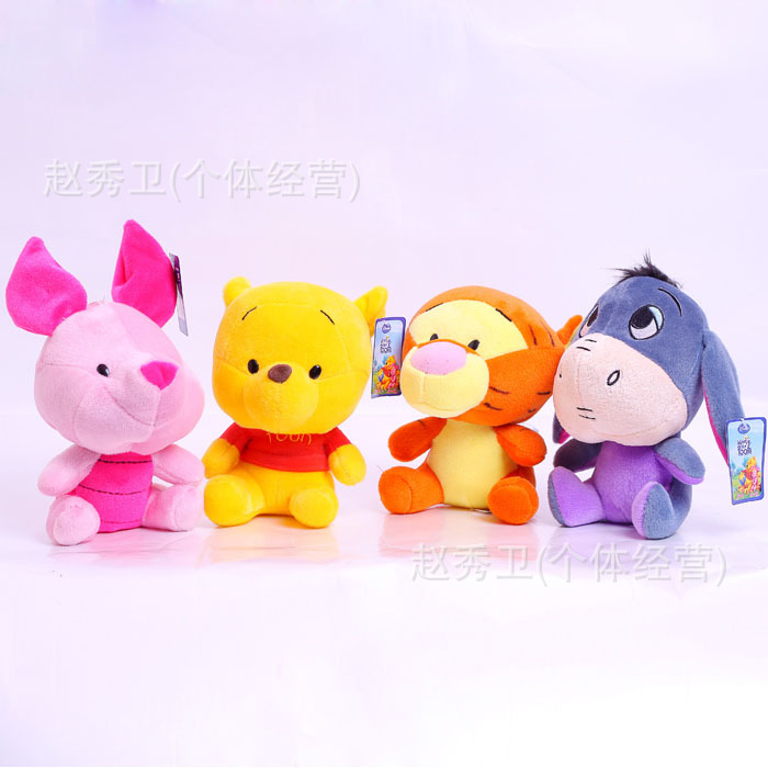 high quality , lovely bear, tigger, piggy, donkey 18cm plush toy one lot / 4 pieces toys Christmas gift h96(China (Mainland))