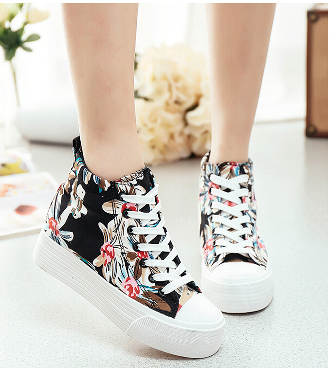 In the spring of 2015 girls thick bottom canvas shoes female Han edition high help contact increased in leisure sports shoes(China (Mainland))