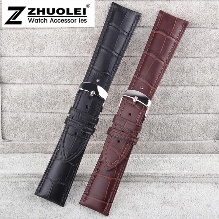 23mm Black 1pcs Alligator Pattern Genuine Leather Watch Bands Straps Bracelets Polished Steel Depoyment Clasp Buckle<br><br>Aliexpress