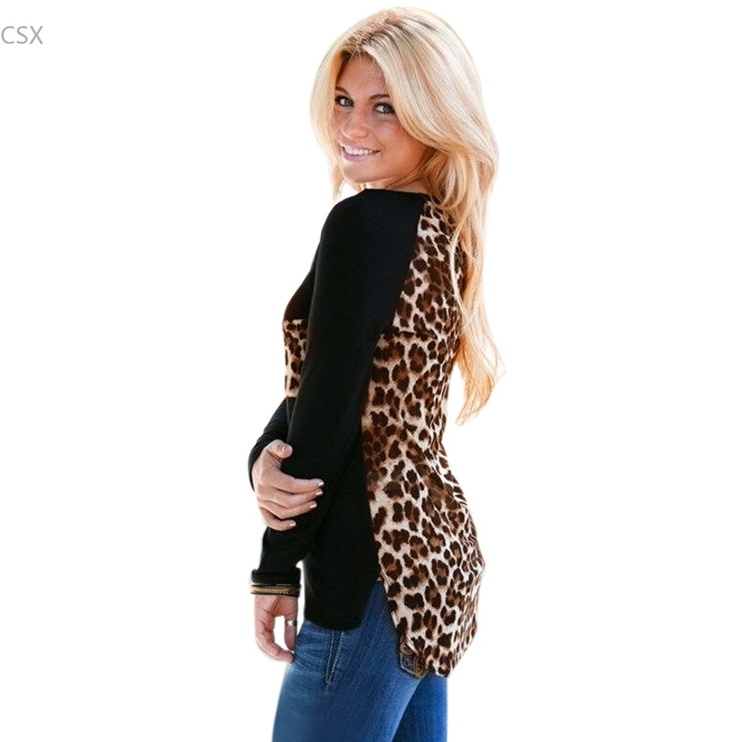 Autumn winter blusas 2015 women leopard printed clothing o for Long t shirts for ladies online