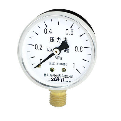 "0-1Mpa 1/4""PT Thread Horizontal Mount Air Compressor Pressure Gauge(China (Mainland))"