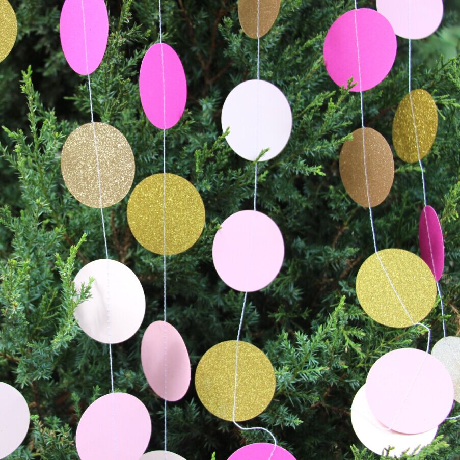 Wholesale party supply pink gold glitter dot garland for for Gold dot garland