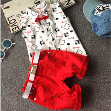 Hot sale! 2016 Summer style Children clothing sets Baby boys girls t shirts+shorts pants sports suit kids clothes(China (Mainland))