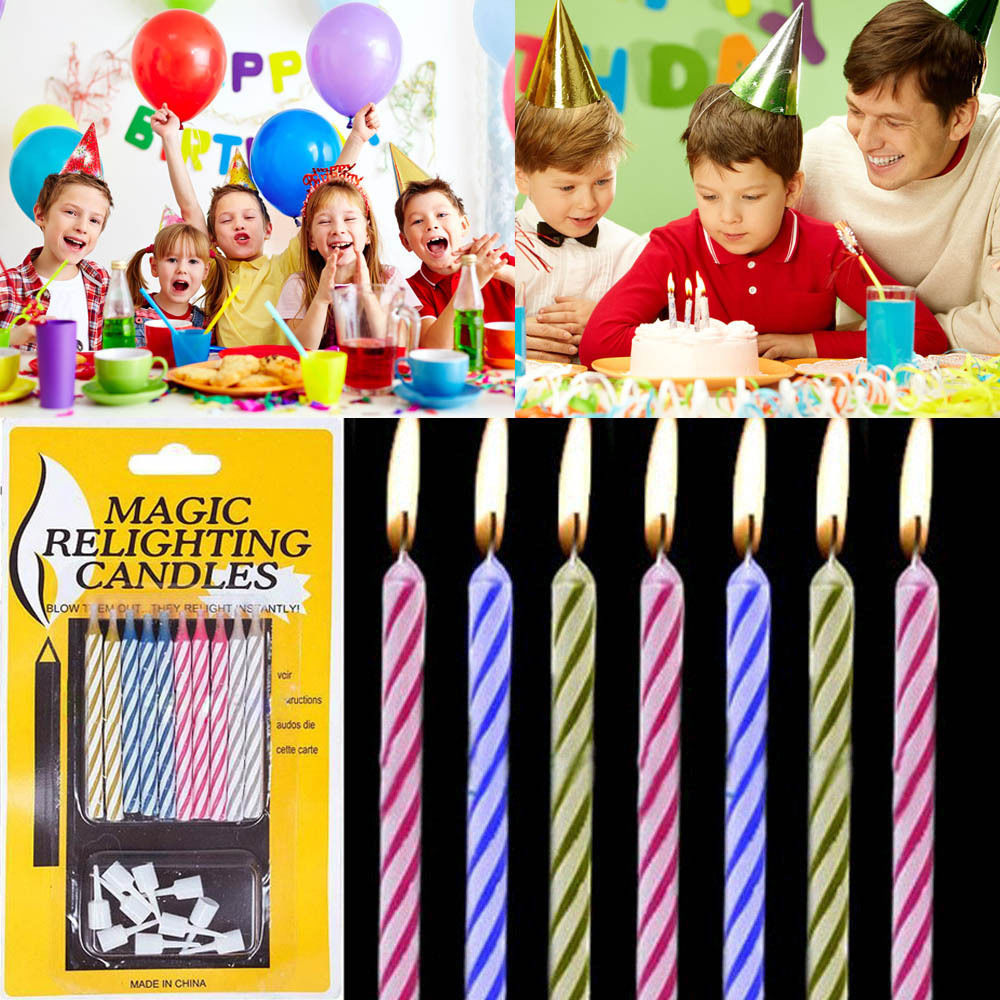 10x Quality Magic Trick Relighting Candle Birthday Cake Party Joke Xmas Gift Fun(China (Mainland))