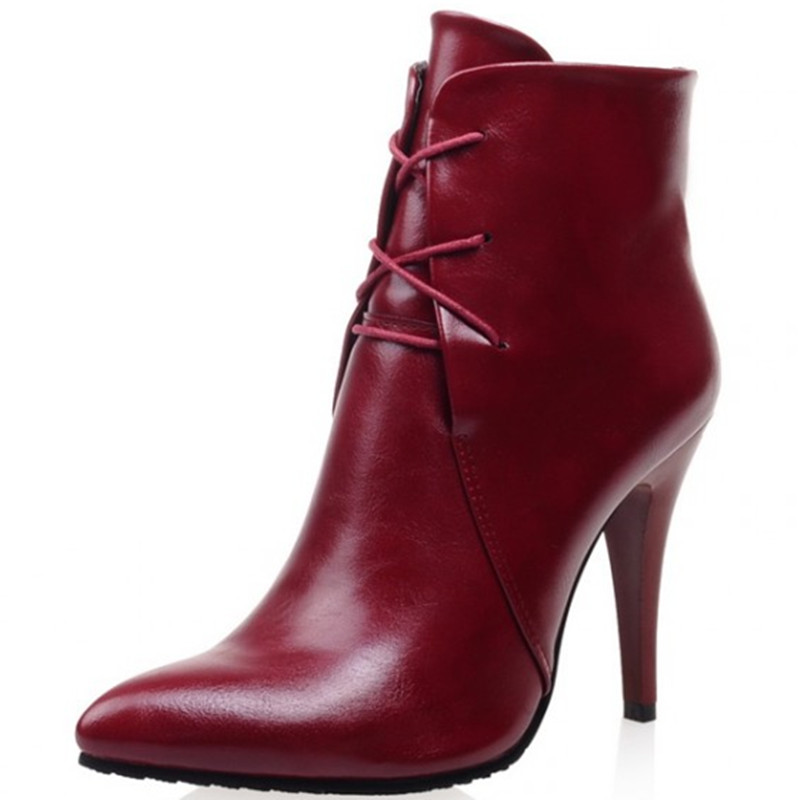 Plus size 33-43 2016 soft leather pumps thin high heels ankle boots for women fashion sexy club dress woman motorcycle shoes(China (Mainland))