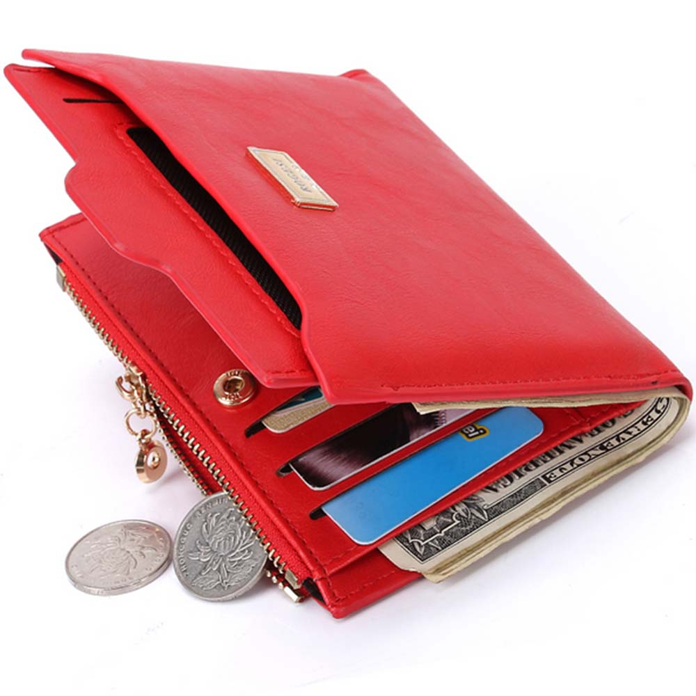 New Small Designer Slim Women Red Wallet Thin Zipper Ladies PU Leather Coin Purses Female Purse Mini Clutch Cheap Womens Wallets(China (Mainland))