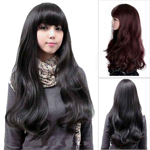 2014 new arrival lady's fashion fluffy big wavy long curly wig,black ...