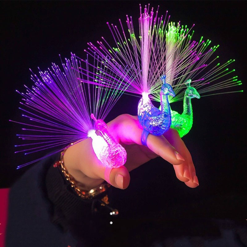 1pcs Peacock Finger Night Lights Color Led Lamp Kids Optical Fiber Finger Light Educational Plastic Finger Toy Free Shipping(China (Mainland))