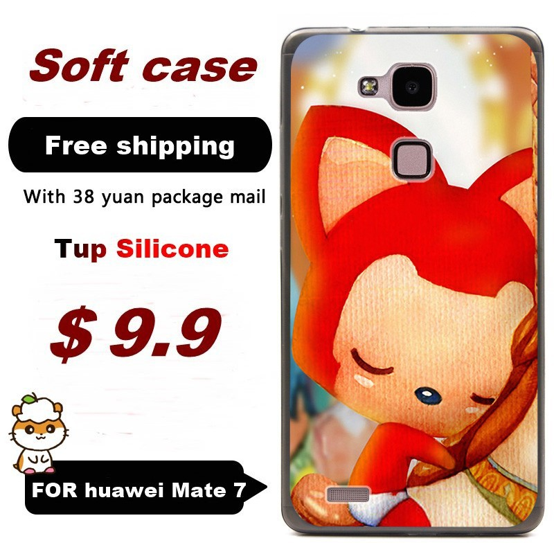 """2,000+Gallery/ Soft shell Tup silicone cases sleeve For Huawei ascend Mate7 6.0"""" inch / cell phone case Little Fox 8 /Free ship(China (Mainland))"""