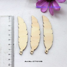 """(30pcs/lot) 20mm x 82mm Blank Natural Wooden Leaves Feather Earrings With A Hole Rustic Favor DIY 3.2""""-CT1212B(China (Mainland))"""
