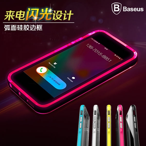 For Iphone 6 Case Original BASEUS Shiny LED Flash Light Case For Iphone 6 Plus Case Luminous Glitter Crystal Mobile Phone Cover(China (Mainland))