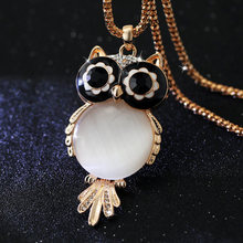 (Min Order $10 +Gift)+Free Shipping!The new big Gem owl necklace, sweater chain