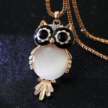 New Brand Fashion Charms Crystal Owl Necklace Gem Cubic Zircon Diamond 18K Gold Long Chain Necklaces&Pendants Women Jewelry A329(China (Mainland))