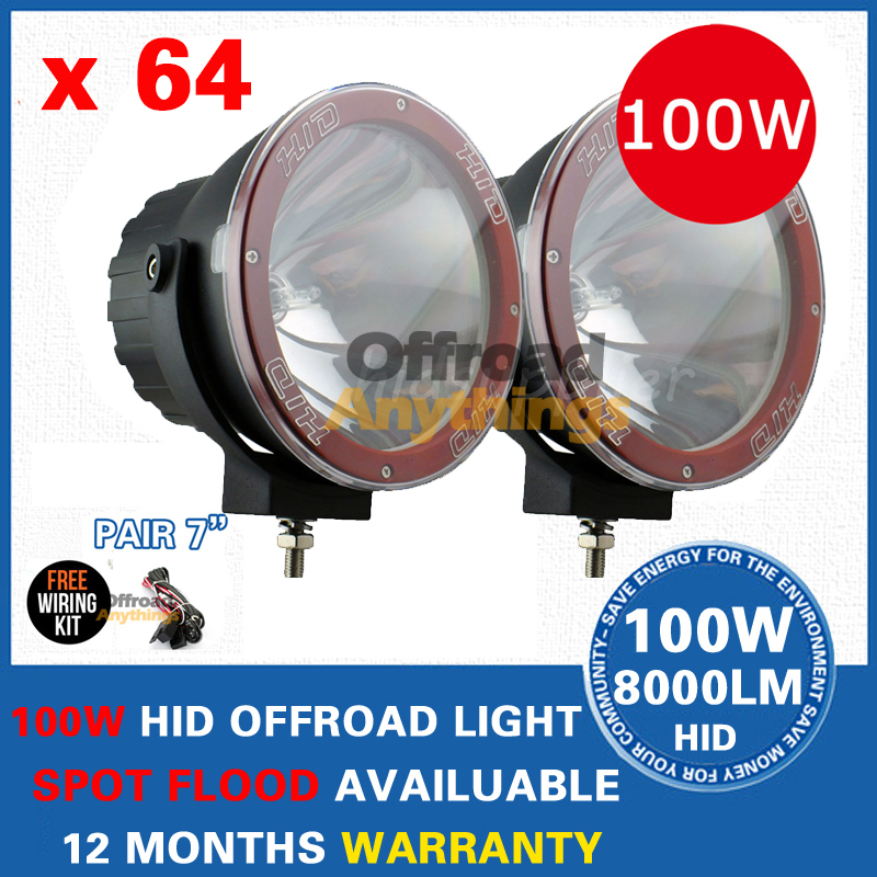 "64 Pcs 12V 35W/55W/75W/100W 7"" Spot Beam truck/Boat fog lamp ,hid driving light ,HID off road light,hid xenon work light(China (Mainland))"