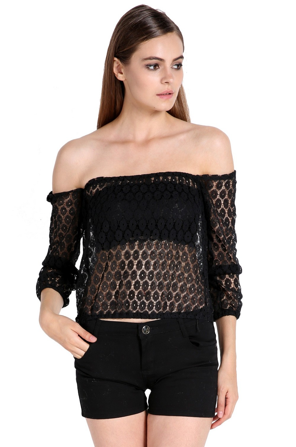 2014 High Quality Sexy Tops Off Shoulder Lace Blouses Women Chiffon Shirt Summer Autumn Floral Crochet Black and White SV07(China (Mainland))