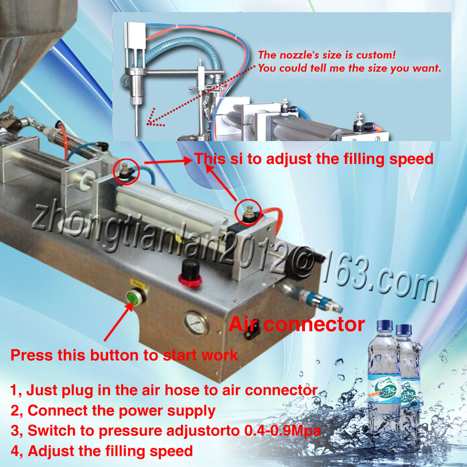 air connector, single nozzle filler machine, filling kinds liquid/cream 300ML-2500ML,12 months guarantee - YOLI Group company store
