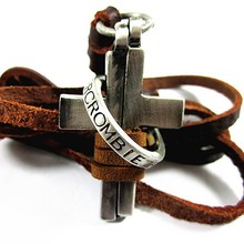 leather necklaces,high quality men retro cross necklace,fashion jewelry,100% genuine leather,handmade pendant