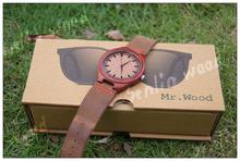 Recién llegado de japón Miyota 2035 movimiento de pulsera de cuero genuino de bambú de madera relojes para hombres y mujeres WT14