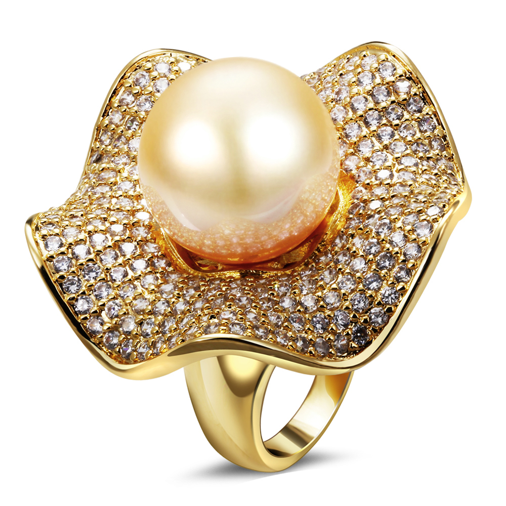 joan chan's jewelry store Finger Rings Women Gold Color Pearl Cubic Zirconia 18K Gold Plated Wedding Rings(China (Mainland))
