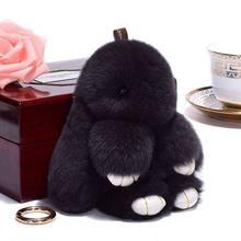 Pluff bonito Chaveiro Coelho Rex Genuína Pele De Coelho Chaveiro Para As Mulheres Saco de Brinquedos Boneca Fofo Pom Pom Pompom Lindo chaveiro 14 CM(China)