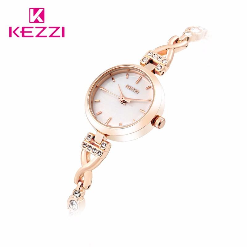 2016 Luxury Brand Женщины Леди Смотреть Мода Diamond Золотой Браслет Наручные Часы Аналоговый Дисплей Кварцевые Часы reloj mujer kw1497