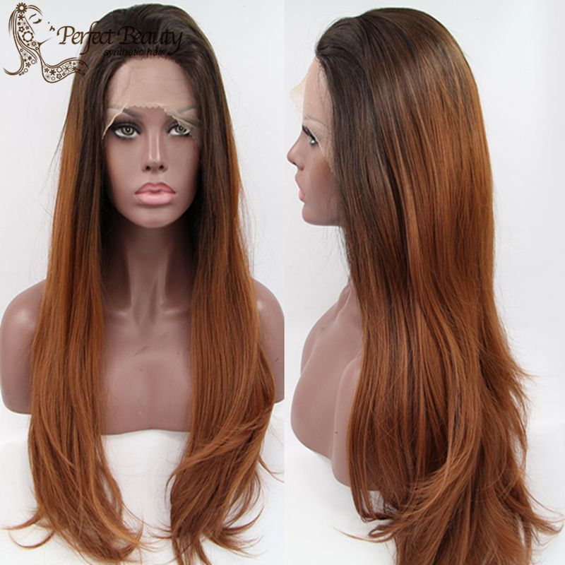 Здесь можно купить  New Charming Hairstyle Brown Wig Synthetic Lace Front Long Natural Straight Wig Heat Resistant Anime Cosplay  Волосы и аксессуары
