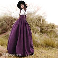 BOSHOW Spring Original Design Women Vintage Elegant Europe Royal Elastic High Waist Maxi Skirt Lace-Up Flock Suede Long Skirt