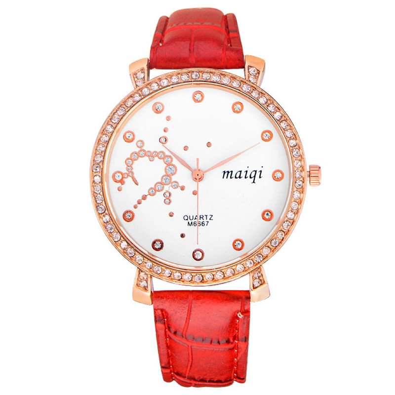 brand new ideas women's fashion rhinestone quartz watch unique design watches Leather - HY GEM store