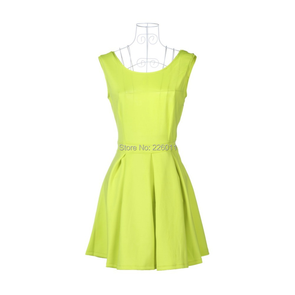 1pcs Women Sexy Backless Dresses Pleated Skater Evening Party Mini Winter Bottoming Neon Green Dress 2015(China (Mainland))