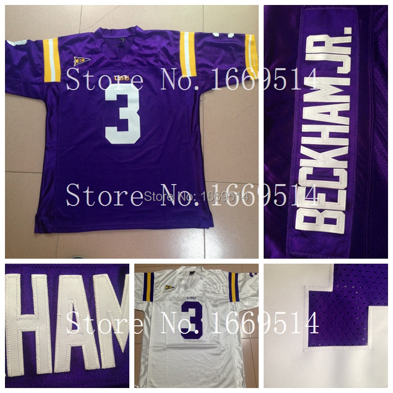 LSU Tigers Jersey #3 Odell Beckham JR Jersey Purple White NEW Cheap men's American College Football Jersey ,Factory Outlet(China (Mainland))