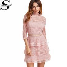 Buy Sheinside Vintage Crochet Dress Women Pink High Neck 3/4 Sleeve Layered Dotted Dresses 2017 Cute High Neck Party Summer Dress for $23.99 in AliExpress store
