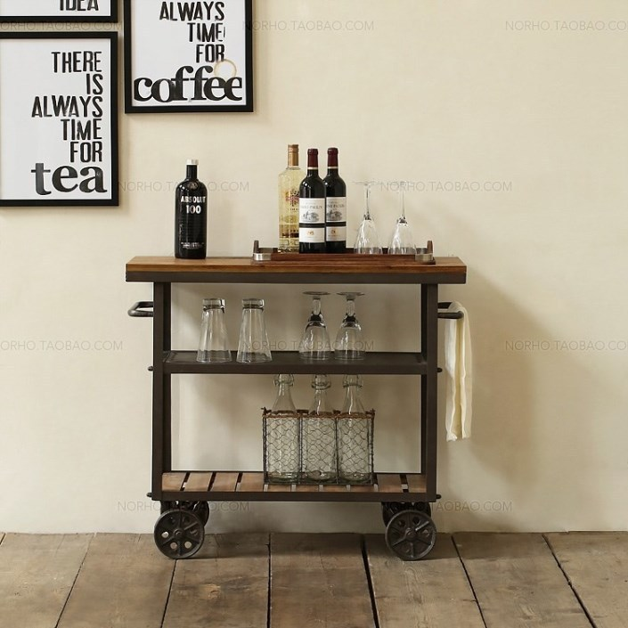 American Iron wood dining car stylish drinks trolley creative move small diner fine dining Wine cabinet(China (Mainland))