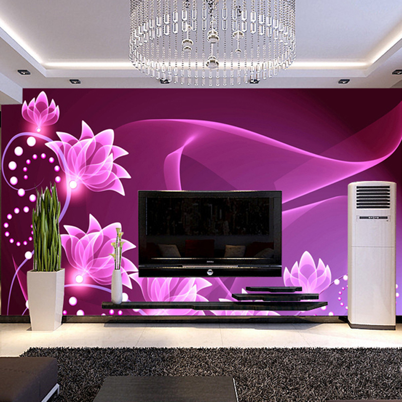 hot can customized wall decor large big mural 3d wallpaper room modern tv sofa background wall covering fresco purple flowers(China (Mainland))