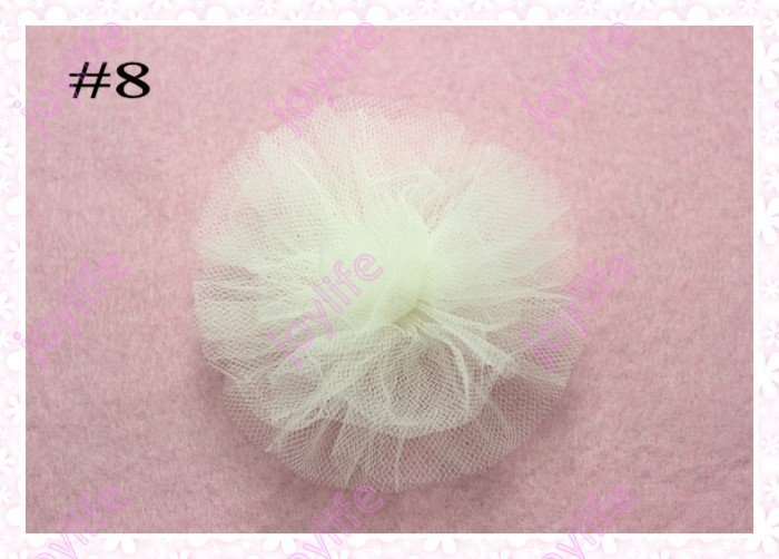 free shipping 20pcs 3'' fashion tutu and organza boutique hair bows mix color girl baby hair bow clips(China (Mainland))