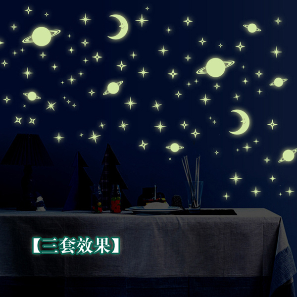 1pcs Star Moon Galaxy Space Wall Sticker Glow Window Wallpaper Decal Home Children Kids Bedroom Living Room Decor House Ornament(China (Mainland))