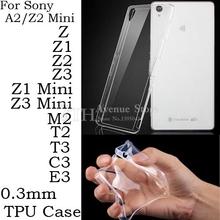 0.3 мм ультратонкий идеальный ясно кристалл прозрачный тпу мягкий чехол для Sony Xperia Z Z1 Z2 Z3 компактный мини A2 M2 T2 T3 C3 E3