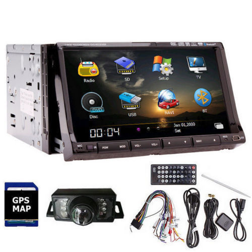 "Double Din 7""Car Stereo Player InDash Car Radio Player built-in GPS Navigator Unit DVD CD Player AUX-IN Ipod Bluetooth+Camera(China (Mainland))"