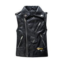 Spring and Autumn Children Outerwear WaistCoat Kids Clothes Baby Boy Girls Leather Vest Kids Zipper Gilet For 3-13 Years Old