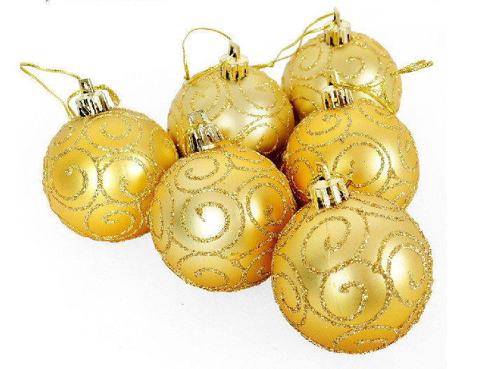 2015 new 30 pieces Christmas Tree Ornaments 6cm gold gilt matte painted high quality christmas ball(China (Mainland))