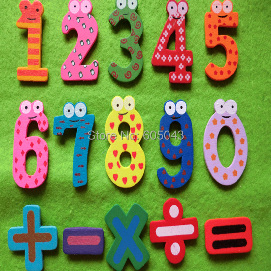 Small Size Wooden Number Fridge Magnets Refrigerator
