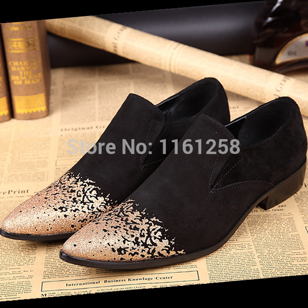 New Arrival US Size 5-11 Suede Leather Slip On Formal Office Dress Loafer Mens Shoes Gold Glitter evening party wedding shoes
