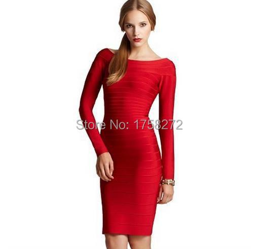 New Arrival 2014 Bandage Dress Celebrity Full Long Sleeve Good Elastic Cocktail Party Red Black Free ShippingÎäåæäà è àêñåññóàðû<br><br>