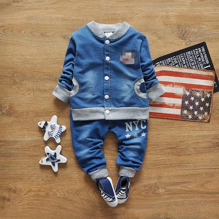 2016 Hot Kids set for cowboy coat children sport clothes suit cardigan boys spring sets clothing(China (Mainland))
