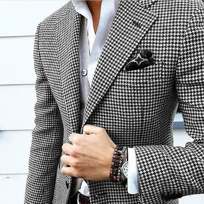 Buy mens checkered suit houndstooth for Made to measure casual shirts