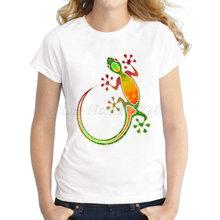 Новые женские Модные Gecko Цветочные Племенной Книги по искусству с принтом Повседневная футболка 3D змея неонового цвета дизайн индивидуальн...(China)