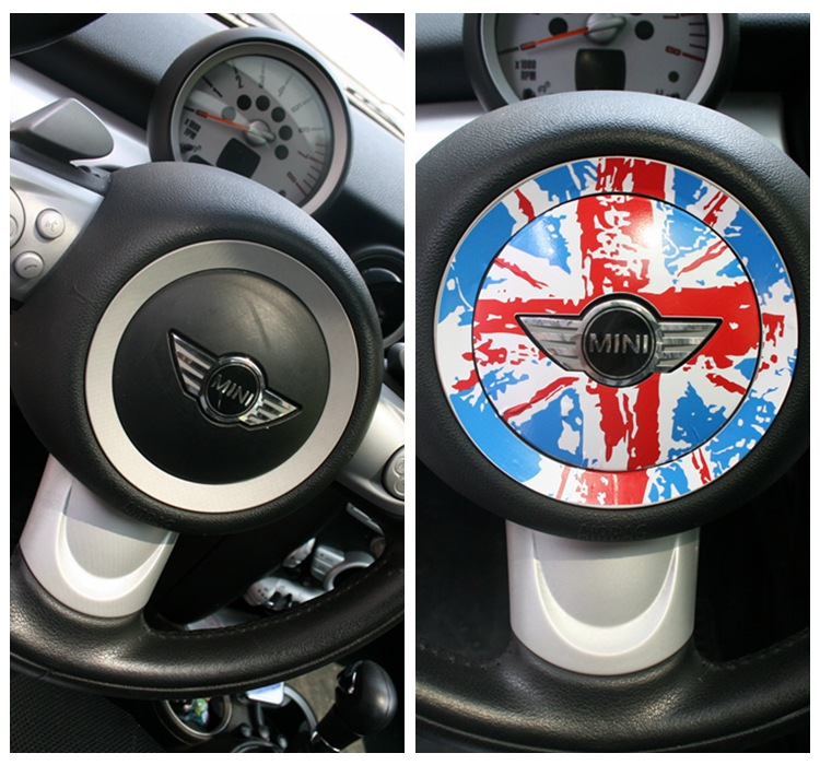 Car Styling PVC Vinyl Sticker Mini Cooper Steering Wheel Sticker PVC Protect Jacket Sticker High quality(China (Mainland))